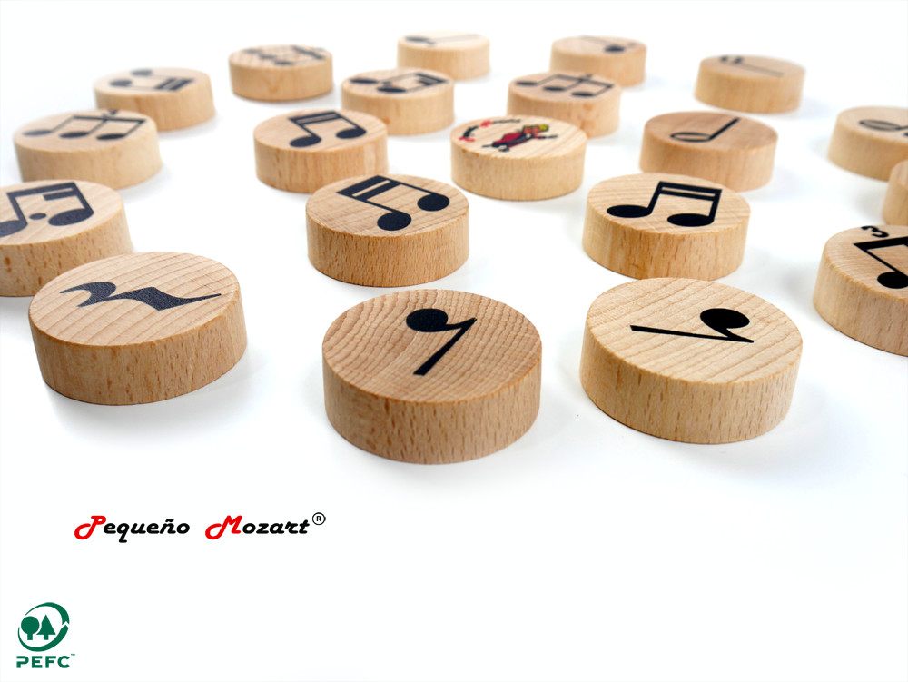 """Figuras musicales """"Pequeño Mozart"""" en madera de haya"""