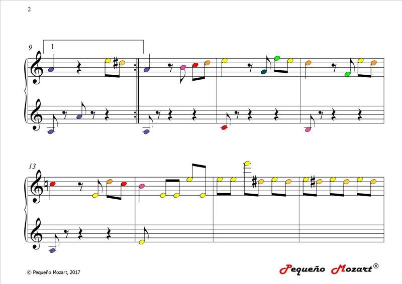Partitura color Elise - Beethoven