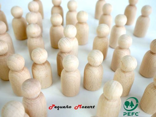 Peg Dolls Pequeño Mozart madera natural de haya 6