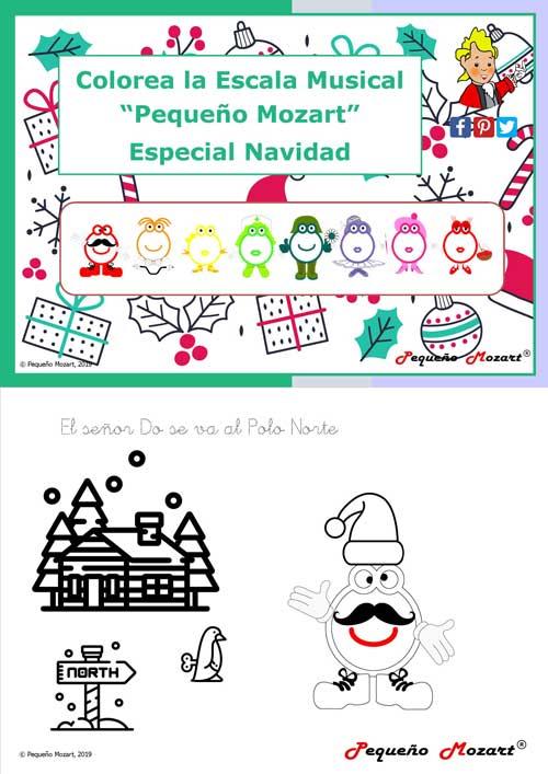 """Colorea la Escala Musical """"Pequeño Mozart"""" en Navidad"""