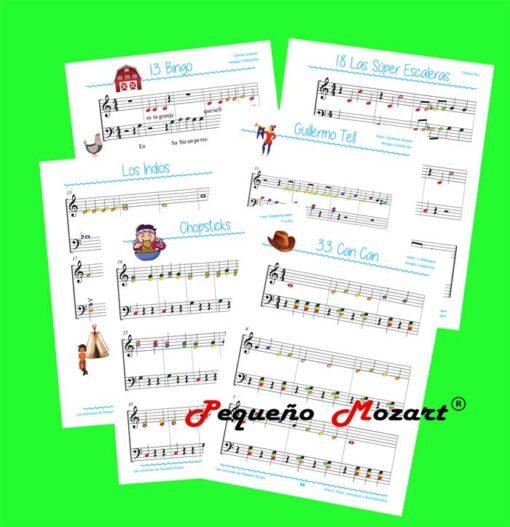 Libro Las Canciones de Pequeño Mozart. Piano, Campanas y Boomwhackers. Nivel 2. Partituras